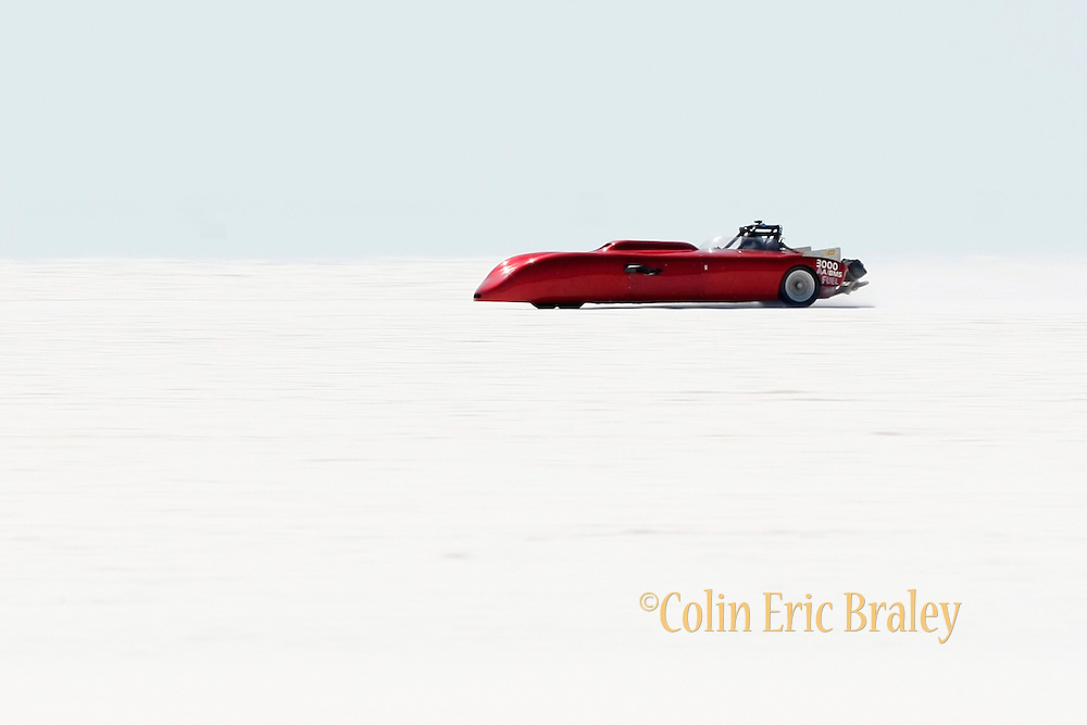 Bonner's Bad Berkeley, owned and driven by Bonner Denton of Tucson, AZ.--- makes a run at the 61st Annual Bonneville Speed Week on the Bonneville Salt Flats in Utah. August 8-14, 2009. The 1959 Berkeley sports car is powered by a supercharged 540ci Donovan,  is in the AA/Blown Gas Modified Sports class. Photo by Colin E. Braley