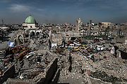 The ruins of Mosul's Old City and the Great Mosque of al-Nuri, which was blown up by ISIS militants.