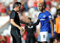 Football - 2019 / 2020 Premier League - AFC Bournemouth vs. Everton<br /> <br /> Everton Manager, Marco Silva, consoles Fabian Delph , who scored an own goal at The Vitality Stadium (Dean Court).<br /> <br /> COLORSPORT/ANDREW COWIE