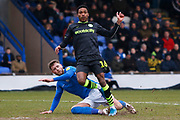 Jevani Brown in action during the EFL Sky Bet League 2 match between Macclesfield Town and Forest Green Rovers at Moss Rose, Macclesfield, United Kingdom on 25 January 2020.