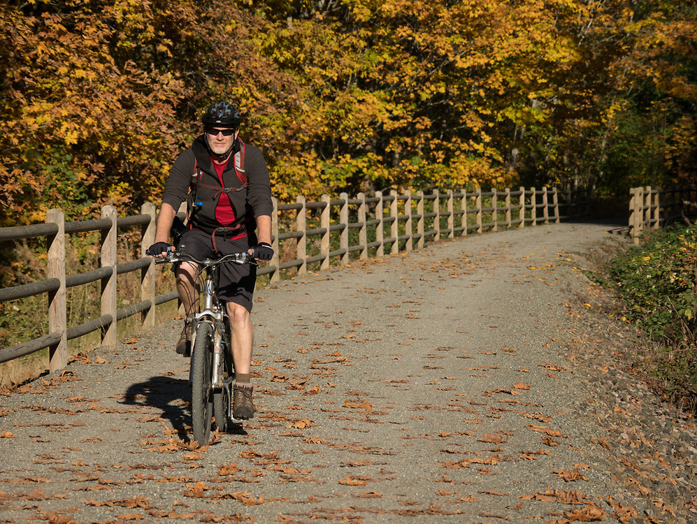 North America, United States, Washington, Kirkland. A woman rides a mountain bike along the Cross Kirkland Corridor, a former railroad line converted to a trail for walking and bicycling.  MR