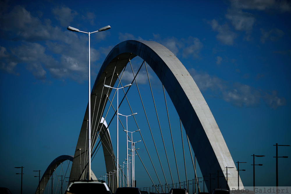 The arcs of Juscelino Kubitschek bridge, crossing the Paranoa lake, rise upon an early morning  of Brasilia, Brazil, Wednesday, Feb 8, 2012.(Photo Dado Galdieri)