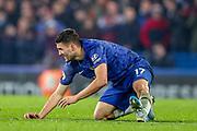 Chelsea midfielder Mateo Kovačić (17) is brought down by Aston Villa midfielder Marvelous Nakamba (11) during the Premier League match between Chelsea and Aston Villa at Stamford Bridge, London, England on 4 December 2019.