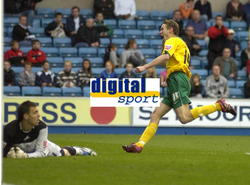 Photo: Matt Bright/Sportsbeat Images.<br /> Millwall v Hartlepool United. Coca Cola League 1. 03/11/2007.<br /> Antony Sweeney of Hartlepool celebrates scoring past a protrate Lenny Pidgeley of Millwall