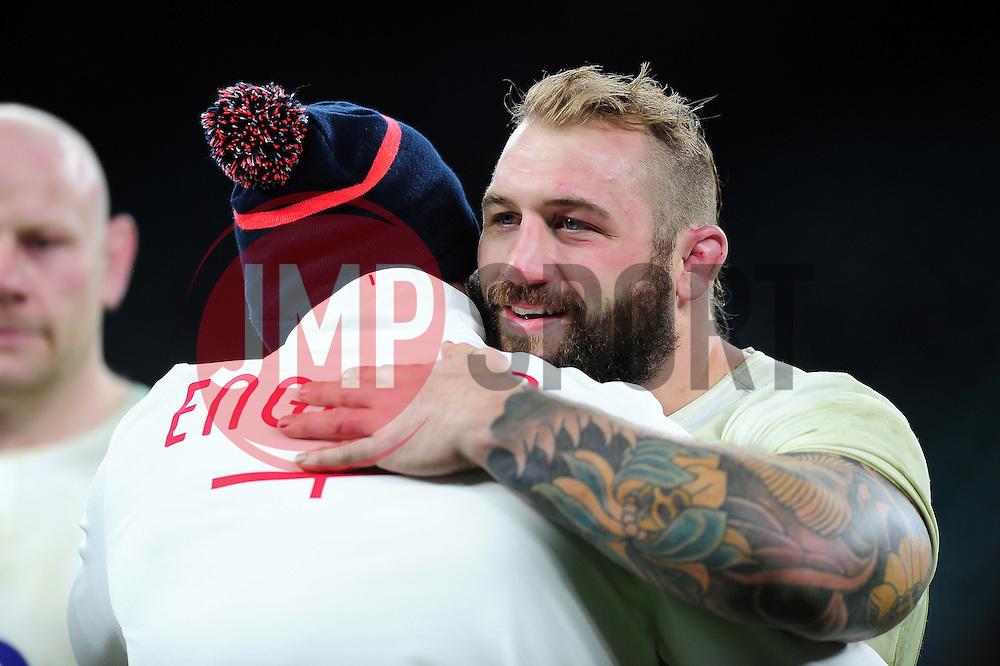 Joe Marler of England embraces England Rugby Assistant Coach Paul Gustard - Mandatory byline: Patrick Khachfe/JMP - 07966 386802 - 04/02/2017 - RUGBY UNION - Twickenham Stadium - London, England - England v France - RBS Six Nations Championship 2017.