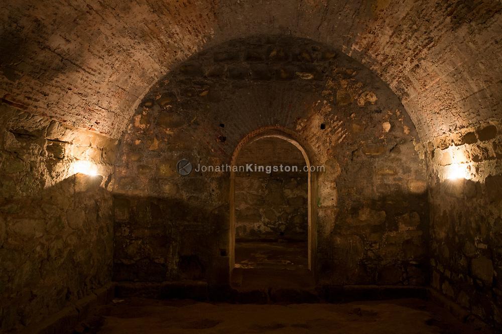 Candles illuminate the interior of Fort San Lorenzo, Panama.