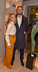 Cressida Bonas and Harry Wentworth-Stanley at a private view of recent work by Georgiana Anstruther held at the Sladmore Gallery, 32 Bruton Place, London England. 08 November 2018. <br /> <br /> ***For fees please contact us prior to publication***