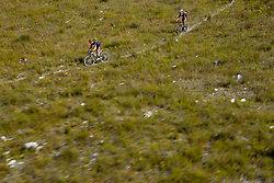 Cadel Evans and George Hincapie descend during stage 1 of the 2017 Absa Cape Epic Mountain Bike stage race held from Hermanus High School in Hermanus, South Africa on the 20th March 2017<br /> <br /> Photo by Greg Beadle/Cape Epic/SPORTZPICS<br /> <br /> PLEASE ENSURE THE APPROPRIATE CREDIT IS GIVEN TO THE PHOTOGRAPHER AND SPORTZPICS ALONG WITH THE ABSA CAPE EPIC<br /> <br /> ace2016