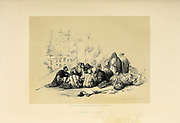Conference of Arabs from The Holy Land: Syria, Idumea, Arabia, Egypt & Nubia by Roberts, David, (1796-1864) Engraved by Louis Haghe. Volume 3. Book Published in 1855 by D. Appleton & Co., 346 & 348 Broadway in New York.