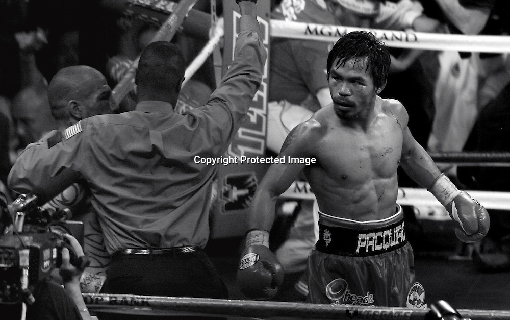 Manny Pacquiao (PHI), NOVEMBER 14, 2009 - Boxing : The referee stops the fight in the 12th round giving Manny Pacquiao of Philippines a TKO victory over Miguel Cotto of Puerto Rico in their WBO welterweight title bout at the MGM Grand Garden Arena in Las Vegas, Nevada, USA. (Photo by Naoki Fukuda/AFLO) [3602]
