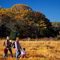"Two moms and their kids explore the edge of a New Hampshire salt marsh. Tidal marsh.  ""Massacre Marsh."" Rye, NH"