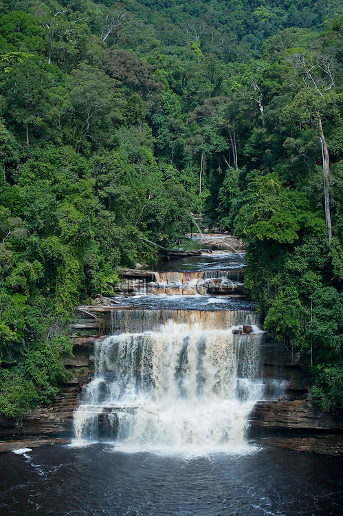 Aerial view of Maliau Falls waterfall in Maliau Basin, Sabah, Borneo, East Malaysia.