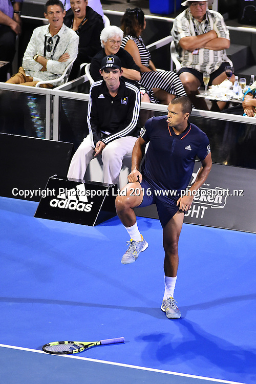 Jo-Wilfried Tsonga from France reacts to a line call during Day 3 of the 2016 ASB Classic Mens. ASB Tennis Centre, Auckland, New Zealand. Wednesday 13 January 2016. Copyright Photo: Chris Symes / www.photosport.nz