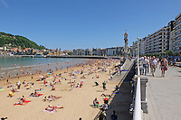 Playa de la Concha, on the right the Paseo de la Concha, San Sebastian, Donostia, Spain, May, 2015, 201505101015<br />