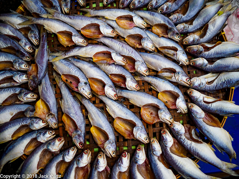 12 JULY 2018 - SAMUT PRAKAN, SAMUT PRAKAN, THAILAND: Fish dry on a basket in Pak Nam market in Samut Prakan. Fish consumption recently hit a record high according to a report published this week by the United Nations Food and Agriculture Organization. The FAO reported that global fish production peaked at about 171 million tonnes in 2016, 47 percent of it from fish farming. The FAO also reported that global fish consumption between 1961 and 2016 was rose nearly twice as fast as population growth. In 2015, fish accounted for about 17 percent of the animal protein consumed globally. This has ramifications for Thailand, which has one of the world's largest fish and seafood industries. About 90% of Thailand's seafood production is exported, which accounts for about 4% of Thailand's exports.    PHOTO BY JACK KURTZ