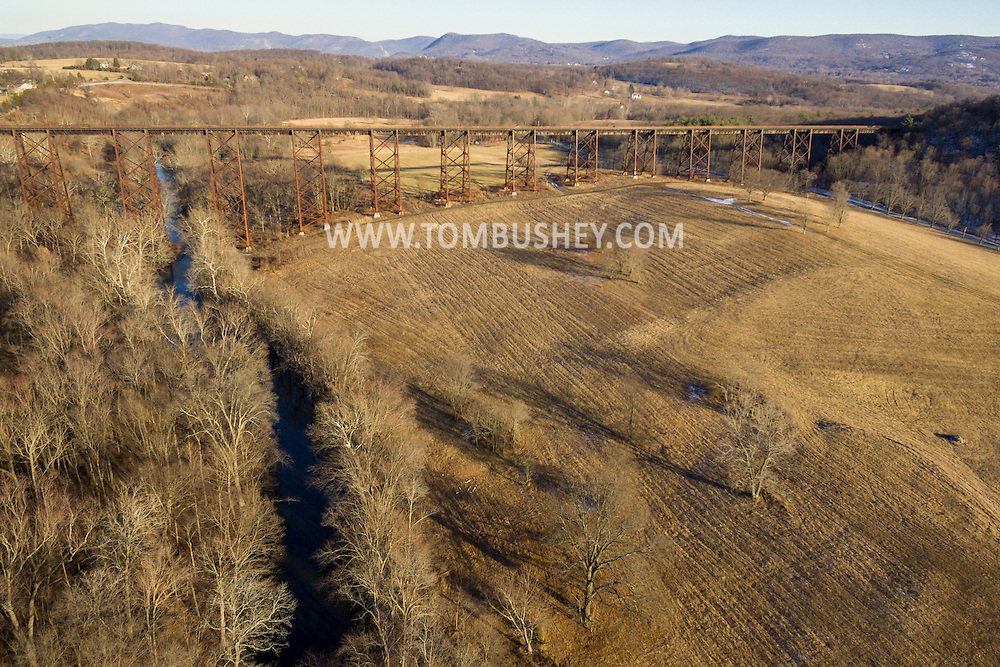 Cornwall, New York -  An aerial view of  the Moodna Viaduct  on Jan. 15, 2017.