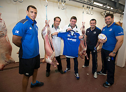 Repro Free: <br /> Bank of Ireland announces details of the 2014 Rugby Sponsor for a Day Competition<br /> <br /> Bank of Ireland is once again opening up its sponsorships of the Munster and Leinster rugby teams to businesses throughout Ireland to compete in its second &lsquo;Sponsor for a Day&rsquo; competition and win the right to have their company logo displayed on the Munster and Leinster players&rsquo; jerseys during a high profile European Rugby Champions Cup match in front of a large live and TV audience.  <br /> <br /> The full prize includes &ndash; the winners company logo on the front of the jerseys; pitch signage; corporate hospitality for ten guests; match programme advert; photographs with the team; promotion for your business from Bank of Ireland and Munster/ Leinster Rugby and Independent News and Media through press and media for all shortlisted companies and winners. The selected games are Leinster vs Castres at the RDS, Dublin on 16 January, 2015 and Munster vs Sale Sharks at Thomond Park, Limerick on 25 January, 2015. Both games will be broadcast live on SKY.<br /> <br /> Companies can enter the competition via www.independent.ie/sponsorforaday from today until the closing date of 10 November, 2014<br /> <br /> Pictured at the launch of the Bank of Ireland &lsquo;Sponsor for a Day&rsquo; competition are last year&rsquo;s Leinster winners, Nigel Gahan, sales manager and James Gahan, production manager, at Gahan Meats with Leinster players Zane Kirchner, Shane Jennings and Mike Ross. Picture Andres Poveda