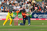 \ew400hits the ball to the boundary for four runs during the 3rd Vitality International T20 match between England Women Cricket and Australia Women at the Bristol County Ground, Bristol, United Kingdom on 31 July 2019.