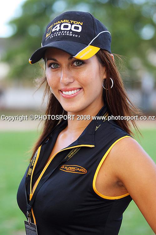 A Hamilton 400 Grid Girl.<br /> Practice Day. Aussie V8 Supercars Round Three, Hamilton 400, Frankton, Hamilton. Friday, 18 April 2008<br />  2008. Photo: Dave Lintott/PHOTOSPORT