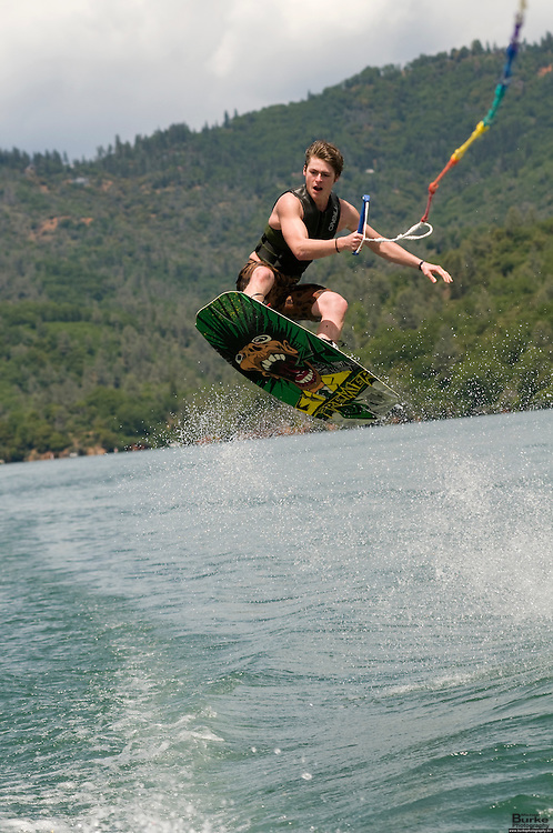 If you would like to purchase this photo contact Michael Burke @ 530.524.9014 Shasta Lake, Wakeboarding, boarding, water, summer, jump, lake, shasta, boy, lake shasta
