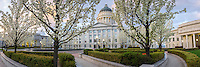 Sunrise views of the gardens at the Utah State Capitol Building on a cool Spring morning as the flowers and trees blossom.