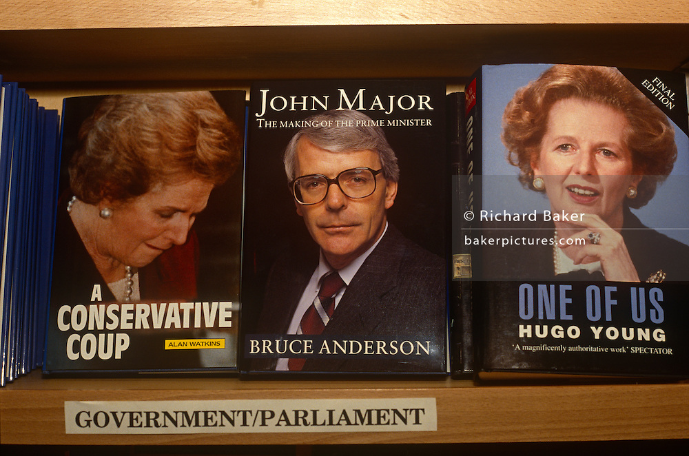 British Prime Minister, John Major and his political predecessor, Margaret Thatcher, adorn the covers of their respective biographies on sale in the Conservative party's Central Office bookshop on 11th March 1992. Thatcher served as PM from 1979 to 1990 and Major, from 1990 to 1997.