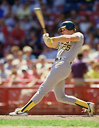 MILWAUKEE - 1987:  Mark McGwire of the Oakland Athletics bats during an MLB game against the Milwaukee Brewers at County Stadium in Milwaukee, Wisconsin during the 1987 season. (Photo by Ron Vesely)   Subject: Mark McGwire