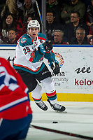 KELOWNA, CANADA - JANUARY 10: Cal Foote #25 of the Kelowna Rockets skates from behind the net with the puck against the Spokane Chiefs on January 10, 2017 at Prospera Place in Kelowna, British Columbia, Canada.  (Photo by Marissa Baecker/Shoot the Breeze)  *** Local Caption ***