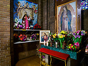 18 APRIL 2017 - MINNEAPOLIS, MN: A grotto dedicated to the Virgin of Guadalupe at Incarnation Catholic Church (also called  Sagrado Corazon de Jesus). The church was built in 1919 and now serves a community of Latin American immigrants.    PHOTO BY JACK KURTZ