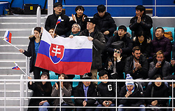 GANGNEUNG, SOUTH KOREA - FEBRUARY 17: Supporters of Slovakia during the ice hockey match between Slovenia and Slovakia in  the Preliminary Round on day eight of the PyeongChang 2018 Winter Olympic Games at Kwangdong Hockey Centre on February 17, 2018 in Gangneung, South Korea. Photo by Kim Jong-man / Sportida