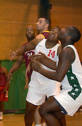 DAGENHAM - MAY 17: Action during the Essex Metropolitan Basketball League's Play Off final against Cardinals at Sydney Russell School. Erks won the game 81 - 68.