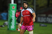 Gloucester prop Josh Hohneck (1)warming up before the European Rugby Challenge Cup match between Gloucester Rugby and SU Agen at the Kingsholm Stadium, Gloucester, United Kingdom on 19 October 2017. Photo by Gary Learmonth.