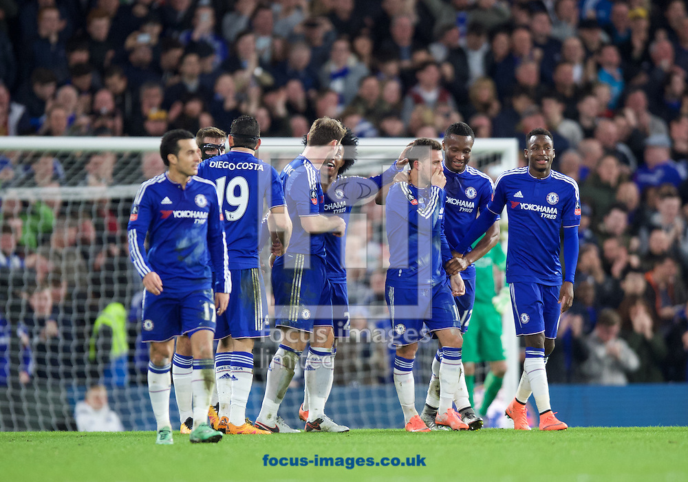 Chelsea players celebrate Eden Hazard's (3rd right) goal to make it 4-1during the FA Cup match at Stamford Bridge, London<br /> Picture by Alan Stanford/Focus Images Ltd +44 7915 056117<br /> 21/02/2016