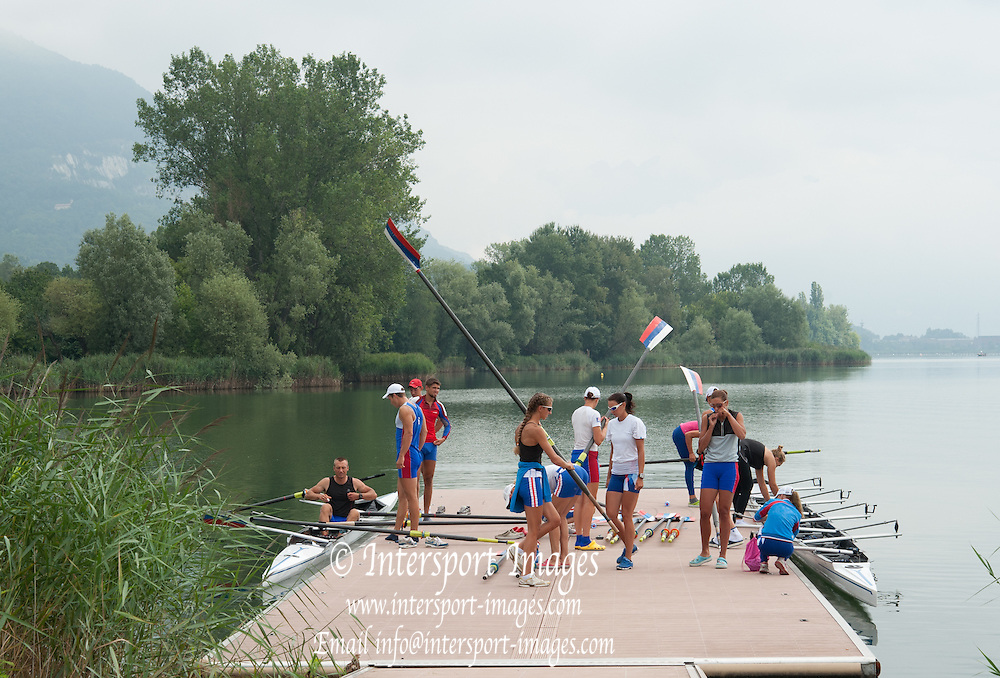Erba, ITALY  Russian Rowing Team Training at their Italian Base in Erba at  Lake Pusiano.  10:15:58  Tuesday  22/07/2014  [Mandatory Credit; Peter Spurrier/Intersport-images]