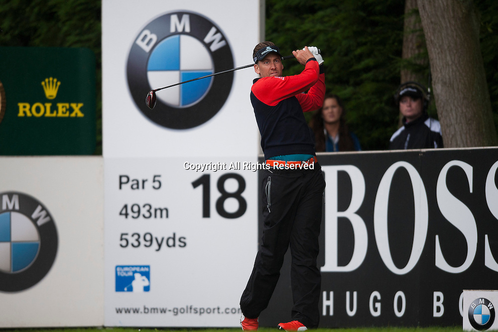 23.05.2014. Wentworth, England.  Ian POULTER [ENG] tees off on the 18th during the second round of the 2014 BMW PGA Championship from The West Course Wentworth Golf Club
