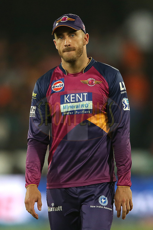 Faf du Plesis of Rising Pune Supergiants during match 22 of the Vivo IPL 2016 (Indian Premier League) between the Sunrisers Hyderabad and the Rising Pune Supergiants held at the Rajiv Gandhi Intl. Cricket Stadium, Hyderabad on the 26th April 2016<br /> <br /> Photo by Shaun Roy / IPL/ SPORTZPICS