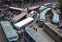 July 23, 2017 - Dhaka, Dhaka, Bangladesh - July 23, 2017 Dhaka, Bangladesh – Road are block with buses at gulisthan. Dhaka last 10 years, average traffic speed has dropped from 21 km/hour to 7 km/hour, only slightly above the average walking speed. Congestion in Dhaka eats up 3.2 million working hours per day, according to the World Bank. (Credit Image: © K M Asad via ZUMA Wire)