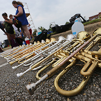 Trumpets are lined up on the ground as the Tupelo High School Marching Band gets started with their band camp Friday.