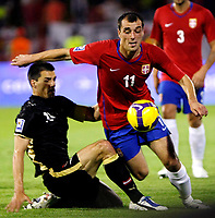 Fotball<br /> 06.06.2009<br /> Serbia v Østerrike<br /> Foto: Gepa/Digitalsport<br /> NORWAY ONLY<br /> <br /> Bild zeigt Paul Scharner (AUT) und Nenad Milijas (SRB)