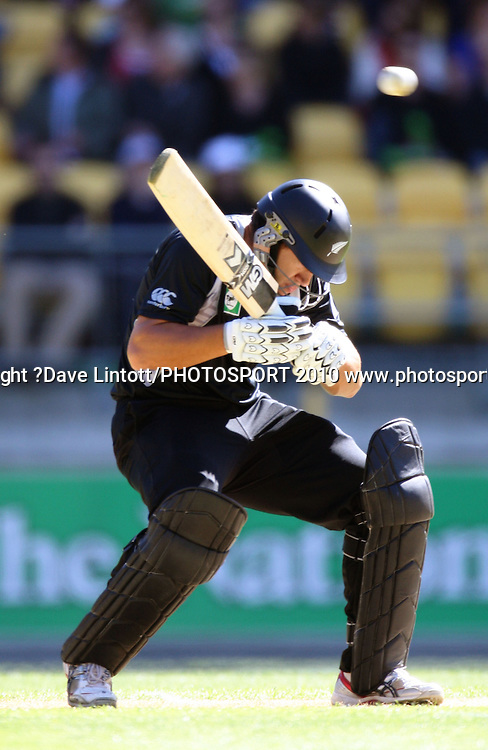NZ's Ross Taylor ducks a bouncer.<br /> Fifth Chappell-Hadlee Trophy one-day international cricket match - New Zealand v Australia at Westpac Stadium, Wellington. Saturday, 13 March 2010. Photo: Dave Lintott/PHOTOSPORT