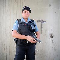 Patrol officer Svelen Araujo, 27<br /> Rapid Response Team<br /> Pacifying Police Unit<br /> Complexo do Caju, Rio de Janeiro, Brazil