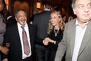 SIR V.S.NAIPAUL; FRANCA SOZZANI; STEPHEN FREARS, Ella Krasner and Pablo Ganguli host a Liberatum dinner in honour of Sir V.S.Naipaul. The Landau at the Langham. London. 23 November 2010. -DO NOT ARCHIVE-© Copyright Photograph by Dafydd Jones. 248 Clapham Rd. London SW9 0PZ. Tel 0207 820 0771. www.dafjones.com.