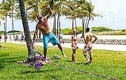 Tightrope balancing act. But not too risky.. Miami Beach, Florida