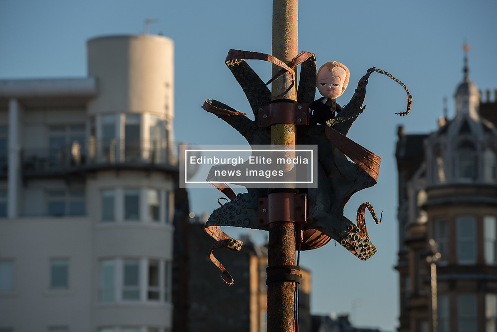 Cressida, the Tidal Octopus on Portobello Beach has a new friend. The metal sculpture created by artist Lauren Fox for Art Walk Porty 2015 was recently reinstalled having been damaged in winter storms <br /> <br /> © Jon Davey/ EEm