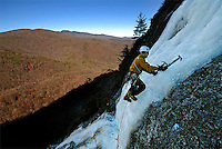 Jasyn Klamboroski climbs White Fang (WI3), Big Lost Cove Cliffs, Pisgah National Forest, North Carolina.