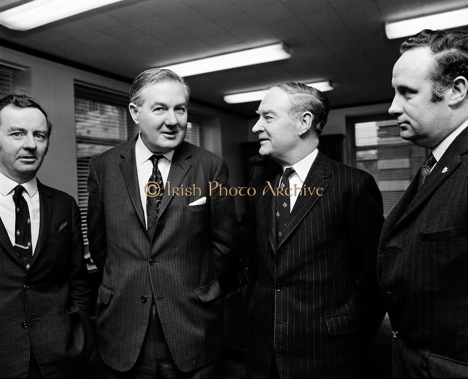 James Callahan MP, former British Home Secretary (2nd from left) meets Liam Cosgrave, leader of Fine Gael. Richie Ryan, TD, and Paddy Harte, TD are at extreme left and right of the picture.<br /> 05/02/1971