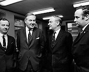 James Callahan MP, former British Home Secretary (2nd from left) meets Liam Cosgrave, leader of Fine Gael. Richie Ryan, TD, and Paddy Harte, TD are at extreme left and right of the picture.<br />