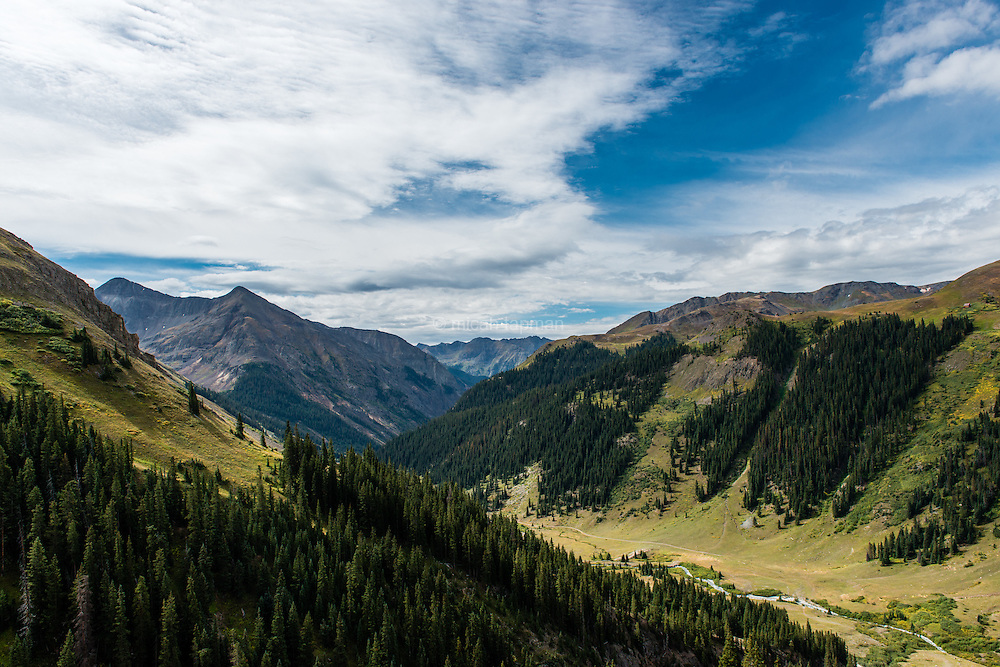 Looking southwest from Cinnamon Pass towards Silverton, Colorado.