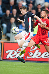 Falkirk's Conor McGrandles and Rangers Derek McGregor. Falkirk 0 v 2 Rangers, Scottish Championship game played 15/8/2014 at The Falkirk Stadium.