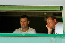 LONDON, ENGLAND - Monday, June 28, 2010: Barry Cown in the commentator's box on Centre Court on day seven of the Wimbledon Lawn Tennis Championships at the All England Lawn Tennis and Croquet Club. (Pic by David Rawcliffe/Propaganda)